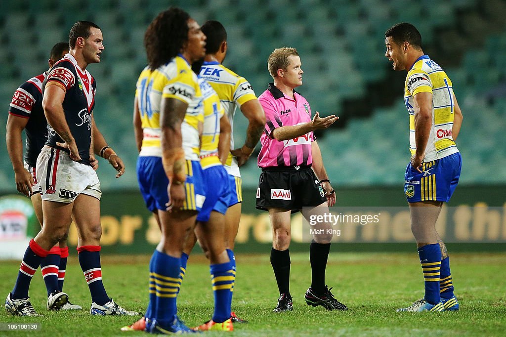 Eels co-captain <a gi-track='captionPersonalityLinkClicked' href=/galleries/search?phrase=Jarryd+Hayne&family=editorial&specificpeople=563352 ng-click='$event.stopPropagation()'>Jarryd Hayne</a> question a referees decision during the round four NRL match between the Sydney Roosters and the Parramatta Eels at Allianz Stadium on April 1, 2013 in Sydney, Australia.
