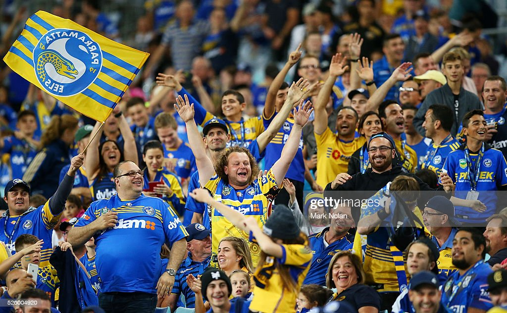 Eels fans taunt Bulldogs fans during the round nine NRL match between the Parramatta Eels and the Canterbury Bulldogs at ANZ Stadium on April 29, 2016 in Sydney, Australia.