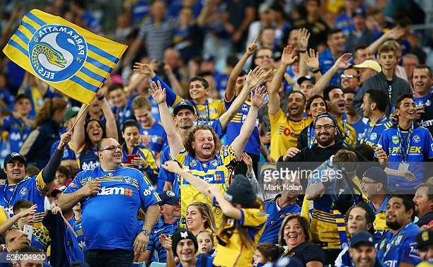 Eels fans taunt Bulldogs fans during the round nine NRL match between the Parramatta Eels and the Canterbury Bulldogs at ANZ Stadium on April 29 2016...