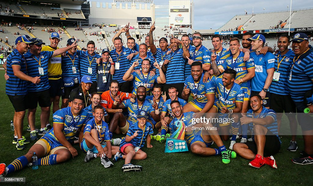 Eels players celebrate after winning the 2016 Auckland Nines Grand Final match between the Warriors and the Eels at Eden Park on February 7, 2016 in Auckland, New Zealand.