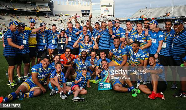 Eels players celebrate after winning the 2016 Auckland Nines Grand Final match between the Warriors and the Eels at Eden Park on February 7 2016 in...