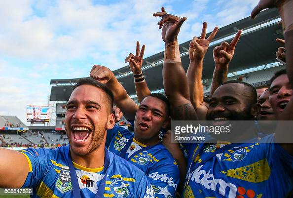 Eels players celebrate with a selfie after winning the 2016 Auckland Nines Grand Final match between the Warriors and the Eels at Eden Park on...