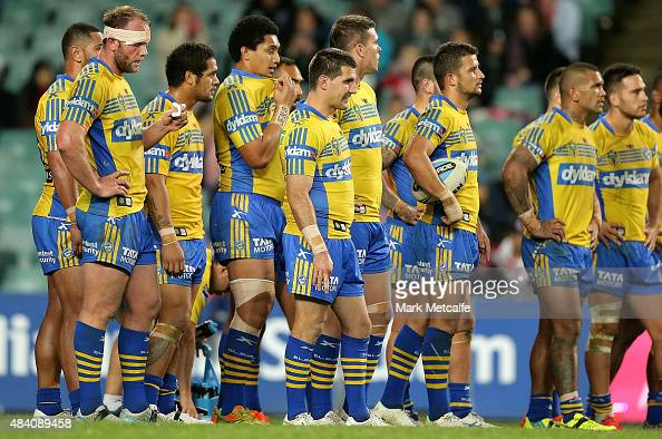 Eels players look dejected after conceding a try during the round 23 NRL match between the Sydney Roosters and the Parramatta Eels at Allianz Stadium...