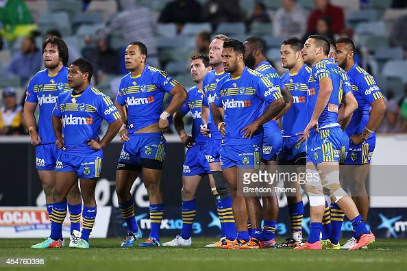 Eels players show their dejection after conceding a try during the round 26 NRL match between the Canberra Raiders and the Parramatta Eels at GIO...