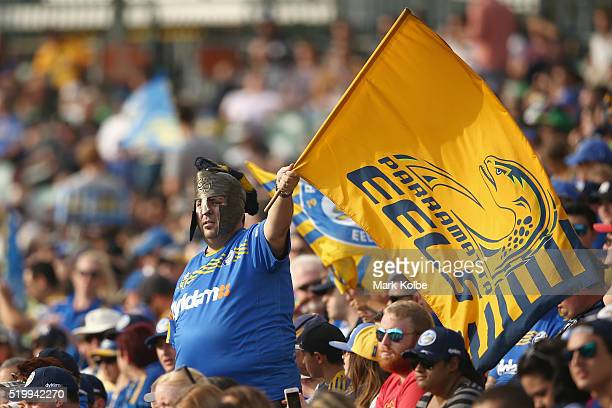Eels supporters in the crowd cheer during the round six NRL match between the Parramatta Eels and the Canberra Raiders at Pirtek Stadium on April 9...