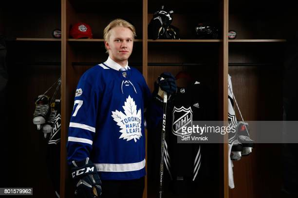 Eemeli Rasanen 59th overall pick of the Toronto Maple Leafs poses for a portrait during the 2017 NHL Draft at United Center on June 24 2017 in...