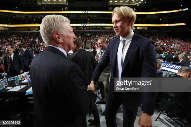 Eemeli Rasanen greets the team after being selected 59th overall by the Toronto Maple Leafs during the 2017 NHL Draft at United Center on June 24...