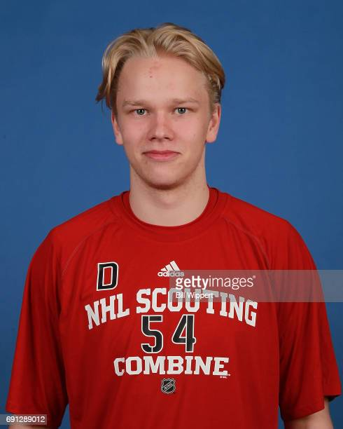Eemeli Rasanen poses for a headshot at the NHL Combine at HarborCenter on June 1 2017 in Buffalo New York