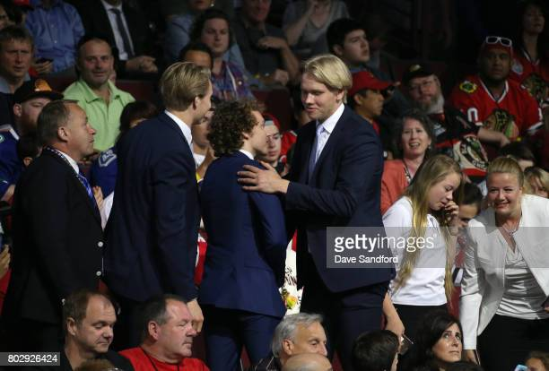 Eemeli Rasanen reacts after being selected 59th overall by the Toronto Maple Leafs during the 2017 NHL Draft at United Center on June 24 2017 in...