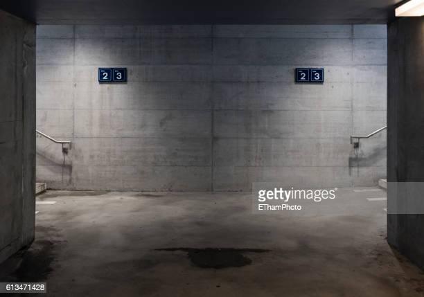 Eerie, dark pedestrian underpass at lonesome railway station