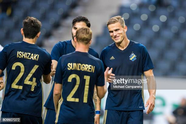 Eero Markkanen and Daniel Sundgren of AIK celebrate after scoring the 50 goal during a UEFA Europe League qualification match at Friends arena on...