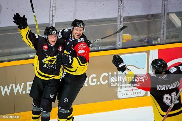 Eetu Koski of SaiPa Lappeenranta made SaiPa's second goal and Curtis Hamilton and Tero Koskiranta celebrates during the Champions Hockey League match...