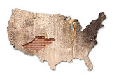 3d rendering of a United States map with a brick texture