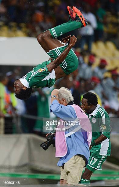 Efe Ambrose of Nigeria does a somersualt as he celebrates during the 2013 Orange African Cup of Nations 3rd Quarter Final match between Ivory Coast...