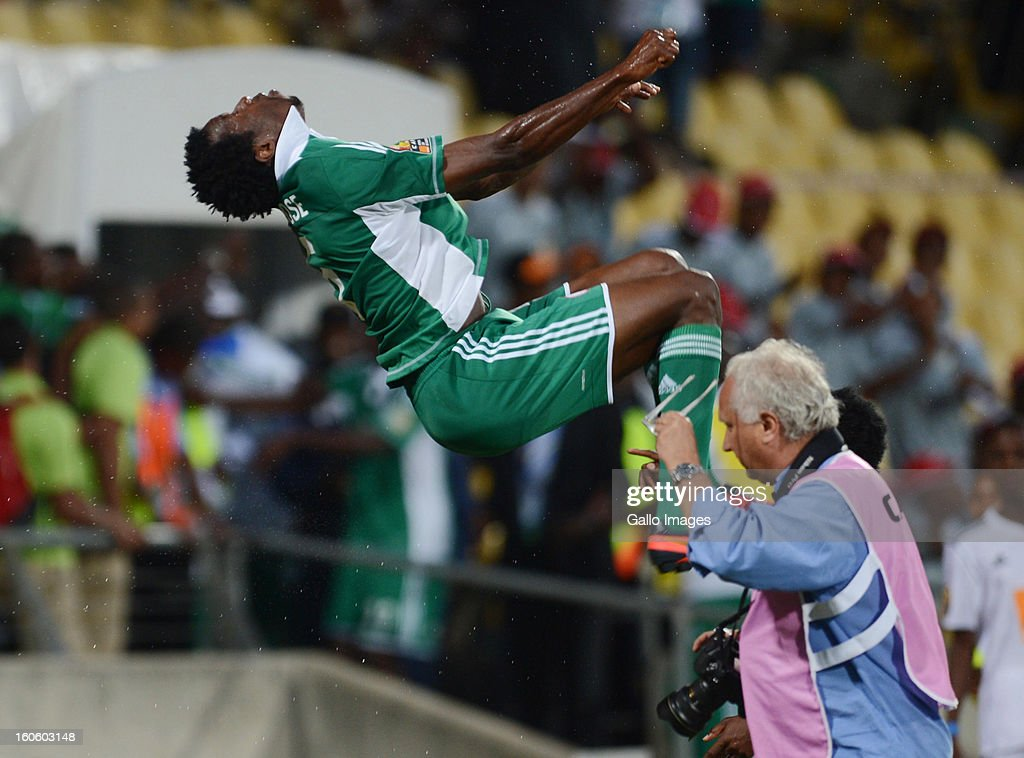 <a gi-track='captionPersonalityLinkClicked' href=/galleries/search?phrase=Efe+Ambrose&family=editorial&specificpeople=4406353 ng-click='$event.stopPropagation()'>Efe Ambrose</a> of Nigeria does a somersualt as he celebrates during the 2013 Orange African Cup of Nations 3rd Quarter Final match between Ivory Coast and Nigeria, at Royal Bafokeng Stadium on February 03, 2013 in Rustenburg, South Africa.