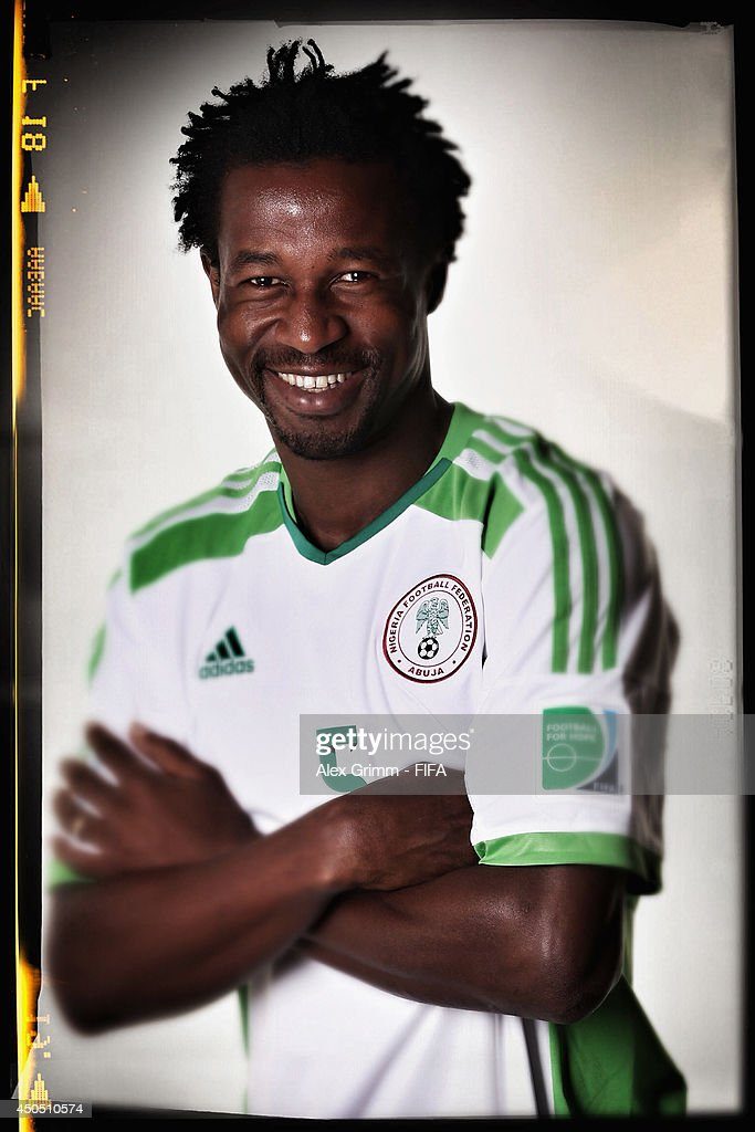 <a gi-track='captionPersonalityLinkClicked' href=/galleries/search?phrase=Efe+Ambrose&family=editorial&specificpeople=4406353 ng-click='$event.stopPropagation()'>Efe Ambrose</a> of Nigeria poses during the official FIFA World Cup 2014 portrait session on June 12, 2014 in Campinas, Brazil.