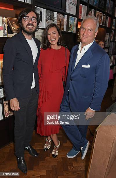Efe Cakarel Hikari Yokoyama and Charles Finch celebrate new film platform MUBI at Maison Assouline on June 25 2015 in London England