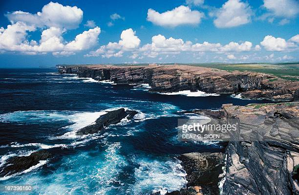 Effects of erosion on the cliffs along the west coast of Mainland Island Orkney Islands Scotland United Kingdom