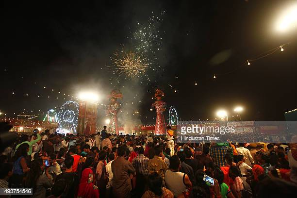 Effigy of Ravana his brothers during Dussehra celebrations organised by Nav Shri Dharmik Ramlila at Red Fort on October 22 2015 in New Delhi India...