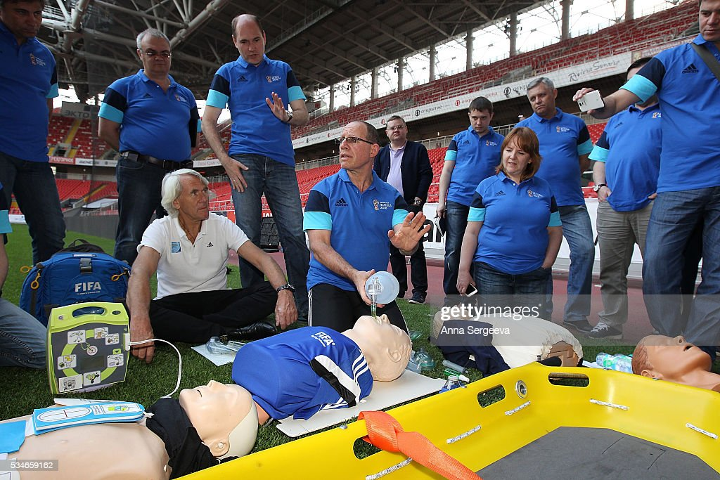 Efraim Kramer explain practical skills in CPR, transport immobilization and evacuation from the field of play during FIFA and LOC Football Emergency Workshop at Spartak Stadium on May 27, 2016 in Moscow, Russia.