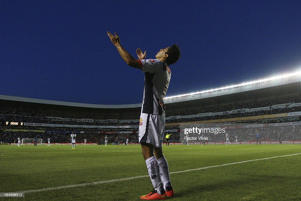 <a gi-track='captionPersonalityLinkClicked' href=/galleries/search?phrase=Efrain+Juarez&family=editorial&specificpeople=2217642 ng-click='$event.stopPropagation()'>Efrain Juarez</a> of Monterrey reacts during a match between Queretaro and Monterrey as part of 7th round Apertura 2014 Liga MX at Corregidora Stadium on August 29, 2014 in Queretaro, Mexico.