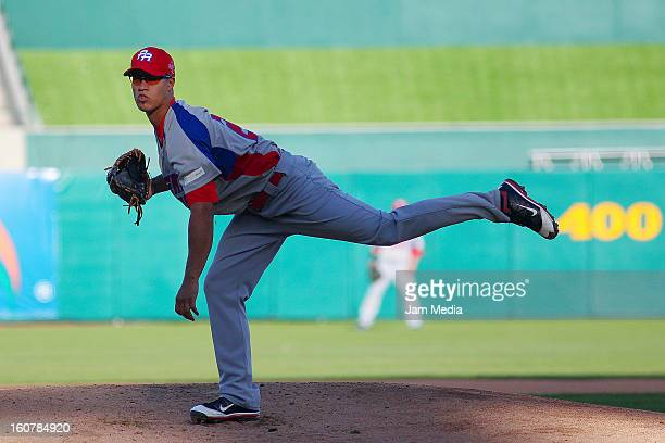 Efrain Nieves of Puerto Rico in action during a match between Puerto Rico and Venezuela as part of the Caribbean Series 2013 at Sonora Stadium on...