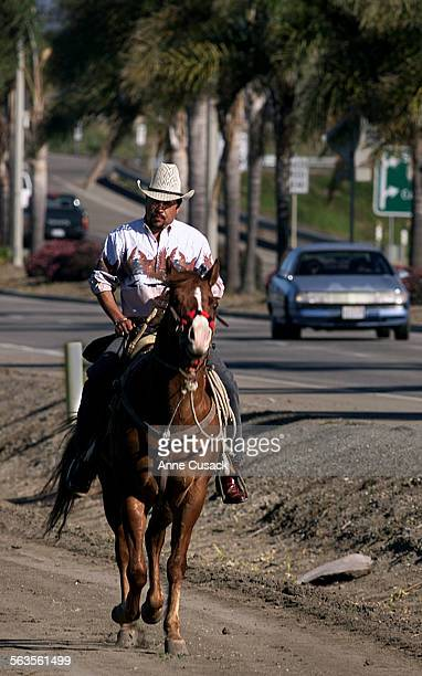 Efran Rodriguez uses the old fashioned way to move about town as heads south on Del Norte Blvd in Oxnard