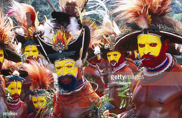 Egele tribe members (Southern Highlands) in traditional dress at Enga Cultural Show, Wabag, Enga, Papua New Guinea, Pacific