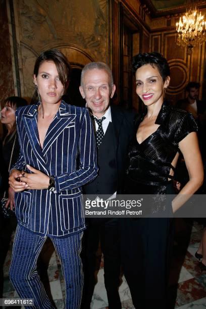 Egeria of the Fragrance Tamy Glauser JeanPaul Gaultier and Farida Khelfa Seydoux attend the JeanPaul Gaultier 'Scandal' Fragrance Launch at Hotel de...