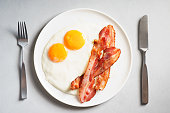 two fried eggs and bacon for breakfast