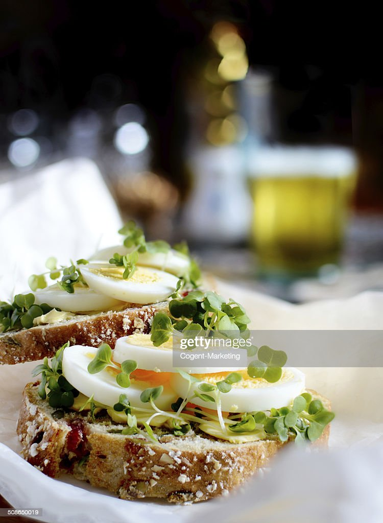 Egg and Cress Open Sandwich : Stock Photo