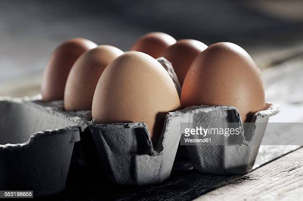 Egg box with six brown eggs