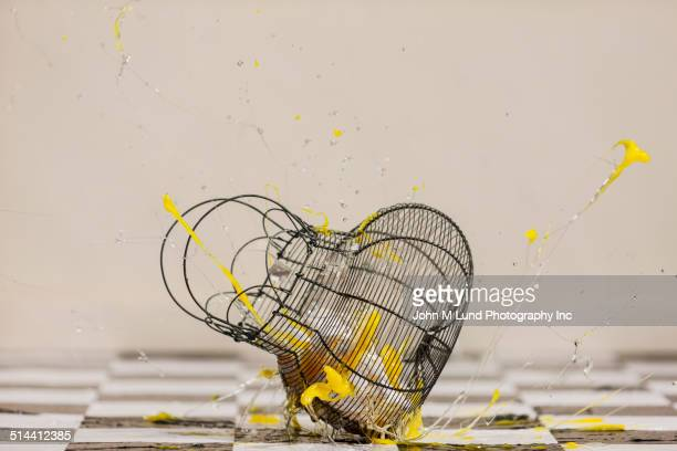 Egg exploding out of falling birdcage