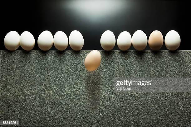 egg falling off stone