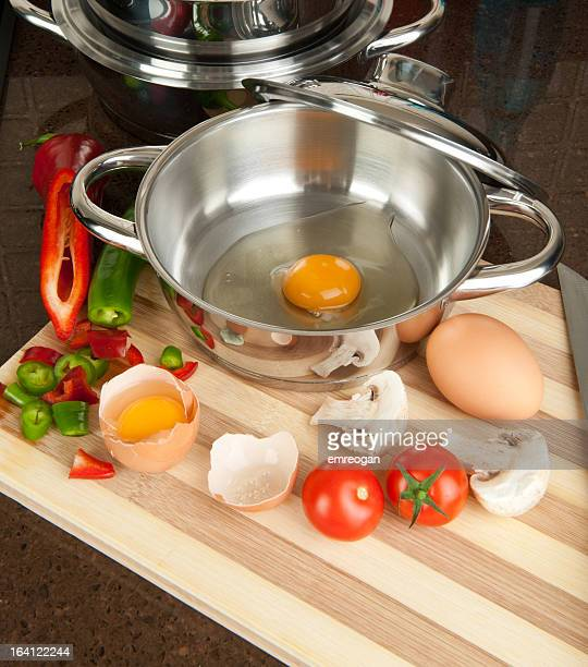 Egg in cooking pan