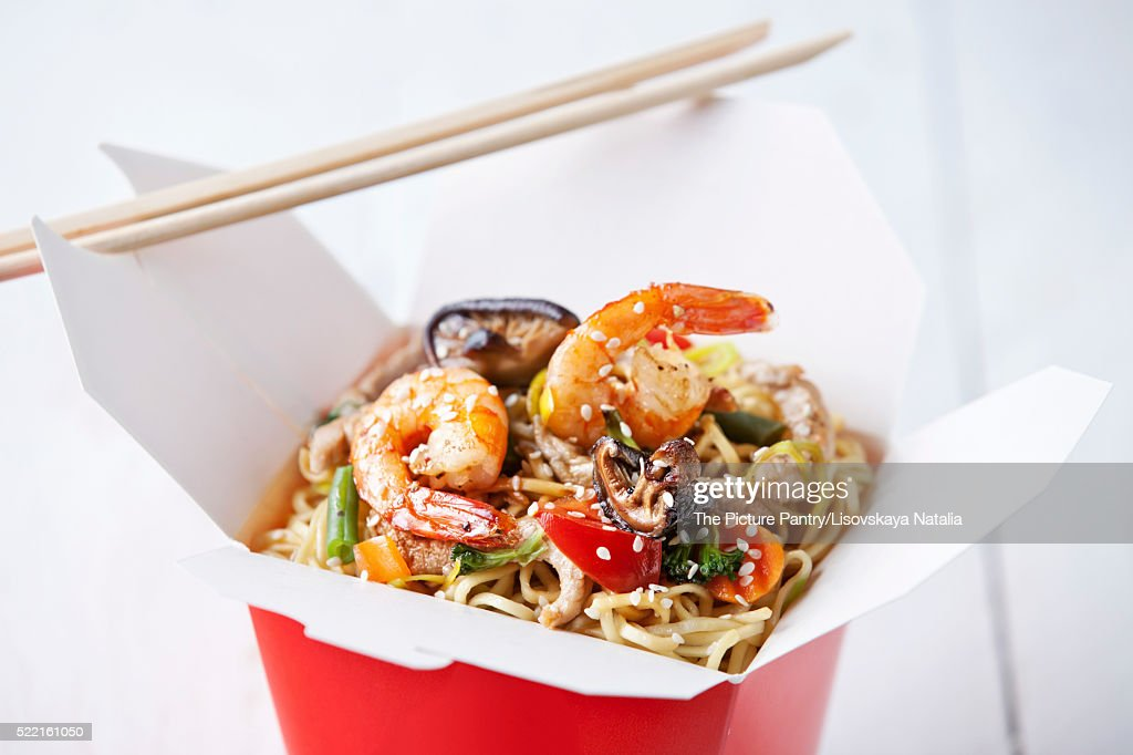 Egg noodles with shiitake mushrooms, shrimp and pork in sweet an