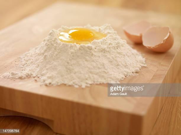 Egg yolk in flour nest