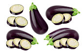 Fresh Eggplant isolated on white background, with clipping path