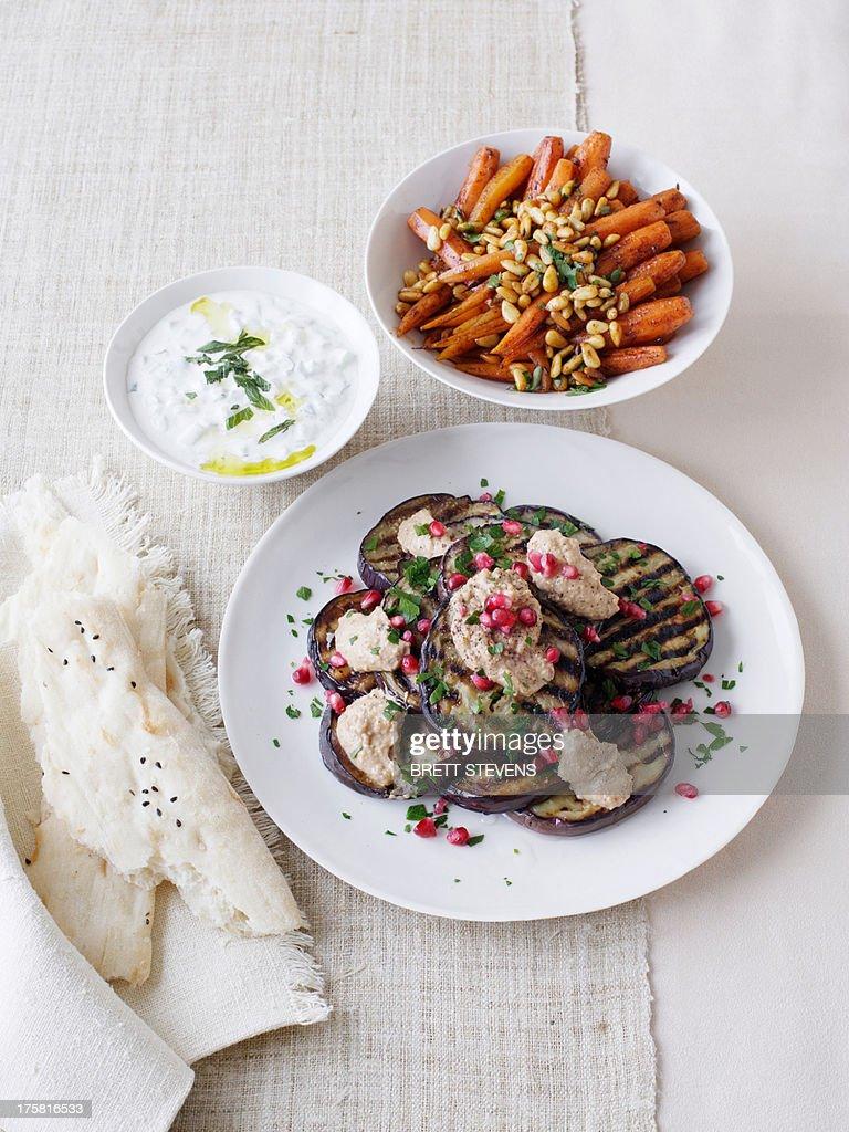Eggplant salad, yoghurt dip, and Moroccan carrot salad : Stock Photo