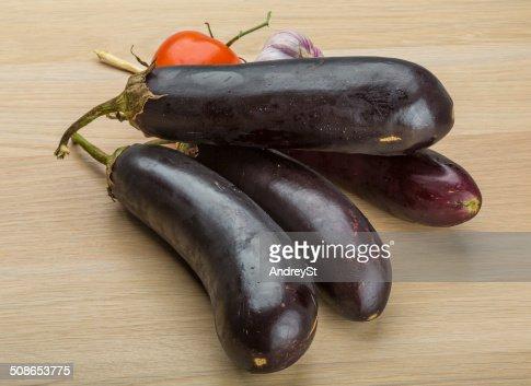 Eggplants on the board : Stock Photo