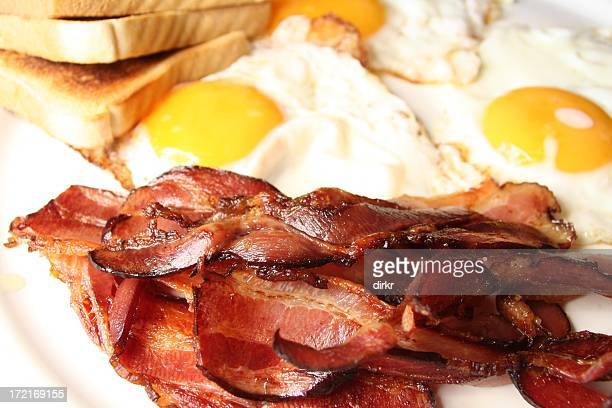 Eggs and bacon breakfast on a plate