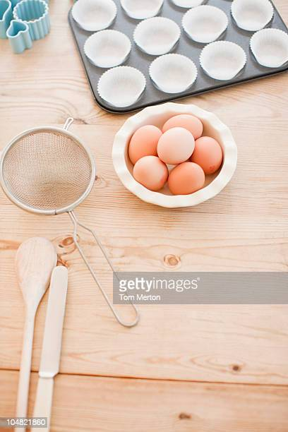 Eggs and baking supplies on table