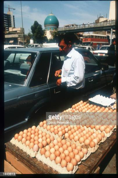 Eggs are sold at the market May 2 1997 in Baghdad Iraq Since the invasion of Kuwait by Iraq in August 1990 embargoes have prevented most of the...