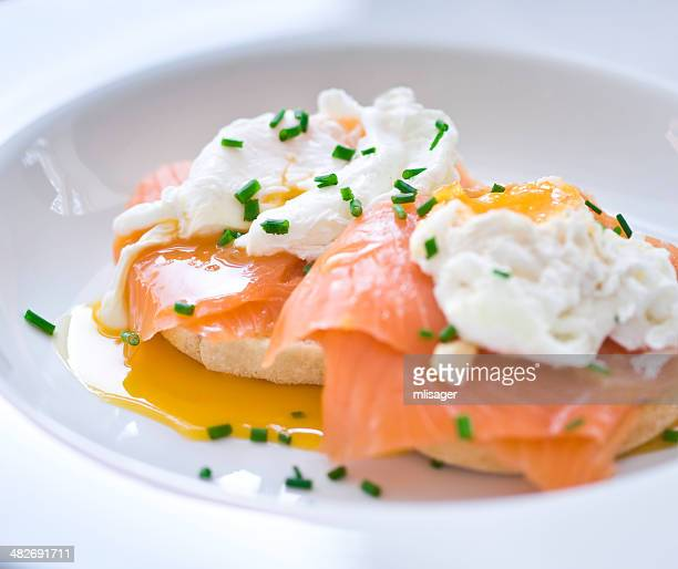 Eggs benedict with salmon and chives