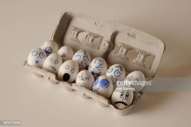 APRILFOOL eggs Eggs with faces drawn on for April Fools Pranks Karl Gehring/The Denver Post