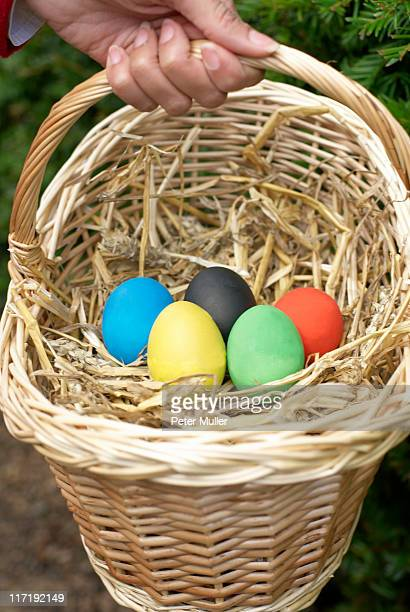 Eggs in a basket in the olympic colours