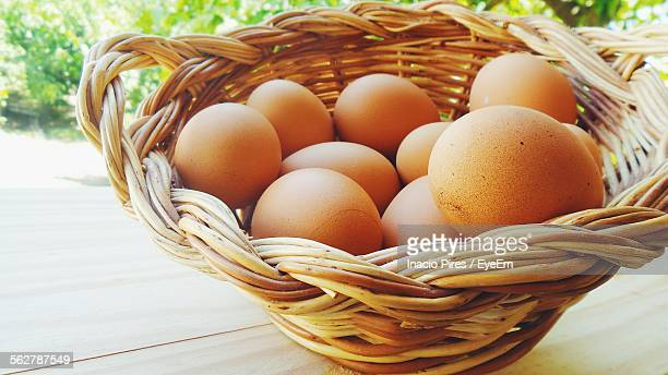 Eggs In Basket On Table