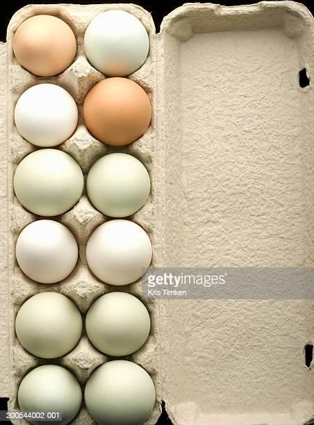 Eggs in egg carton, overhead view