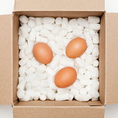 Eggs inside a cardboard box