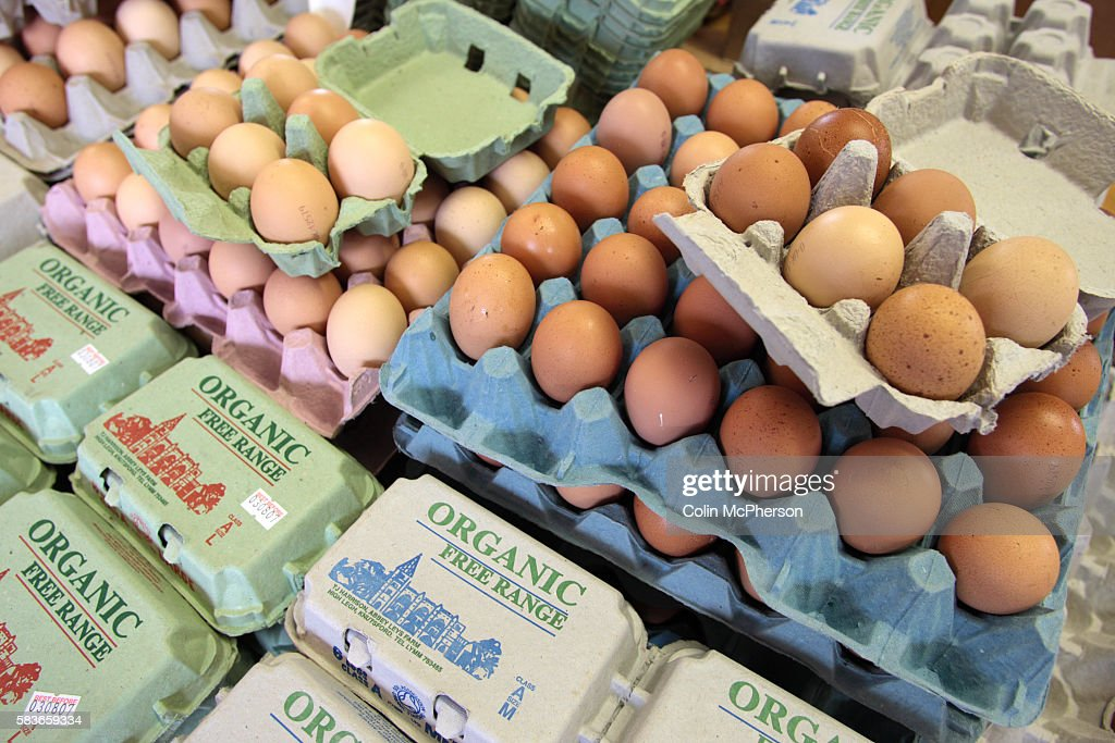 Eggs on display in the shop at Abbey Leys Farm Peacock Lane High Legh near Knutsford Cheshire in northwest England which is owned and managed by...
